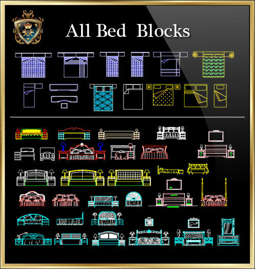 Bed CAD Blocks Collection