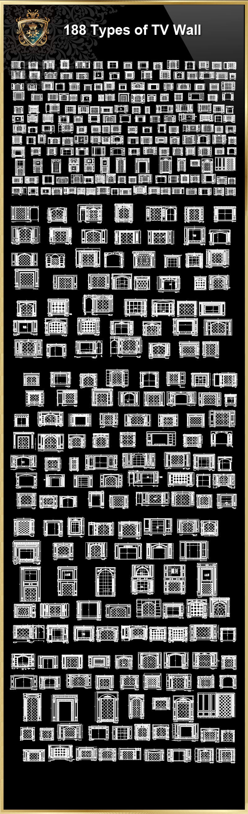 188 types of tv wall design cad drawings living room bedroom design