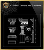 Free Classical Decoration Blocks V.4 - CAD Design | Download CAD Drawings | AutoCAD Blocks | AutoCAD Symbols | CAD Drawings | Architecture Details│Landscape Details | See more about AutoCAD, Cad Drawing and Architecture Details