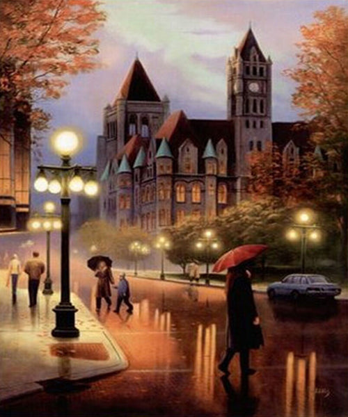 Gothic Architecture Rainy Street 5D DIY Diamond Painting Cross Stitch Of Diamonds Embroidery Mosaic For Home Room Decor