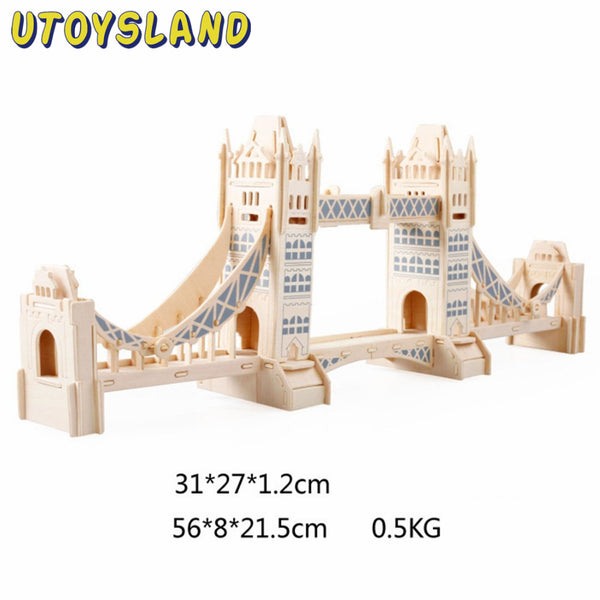 UTOYSLAND 3D Wooden Puzzle London Tower Bridge Architecture Model Assembly DIY Educational Toy for Kids Children