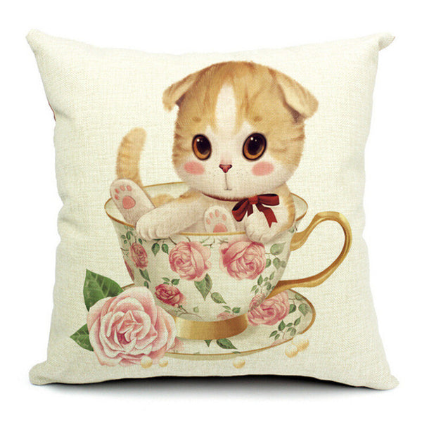 Fashion Adorable Cartoon Style Cat Printed Pillow Bed Sofa Cushion