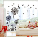 [Fundecor] hot sale DIY black dandelion flower butterfly art wall decor decals mural decorations pvc wall stickers home decor