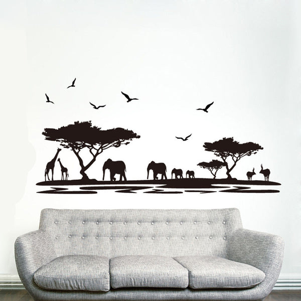 [Fundecor] DIY black safari animal wall stickers for kids rooms elephant decoration decals quote living room home decor