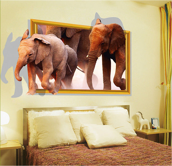 [Fundecor] diy home decor running elephant fake window 3d wall sticker home decoration Wall frames for room decoracao