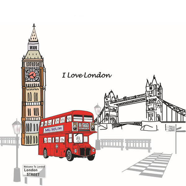 [Fundecor] new design London Bridge, Big Ben wall stickers bus decor decals removable pvc 9058