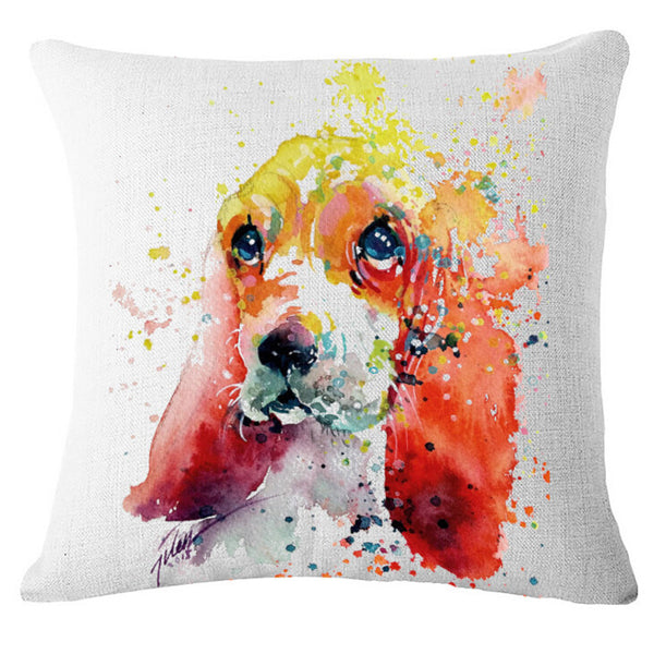 "Fashion cartoon, ""oil painting * dog"" pattern creative pillow, bed pillow, multifunctional office cushion pillow"