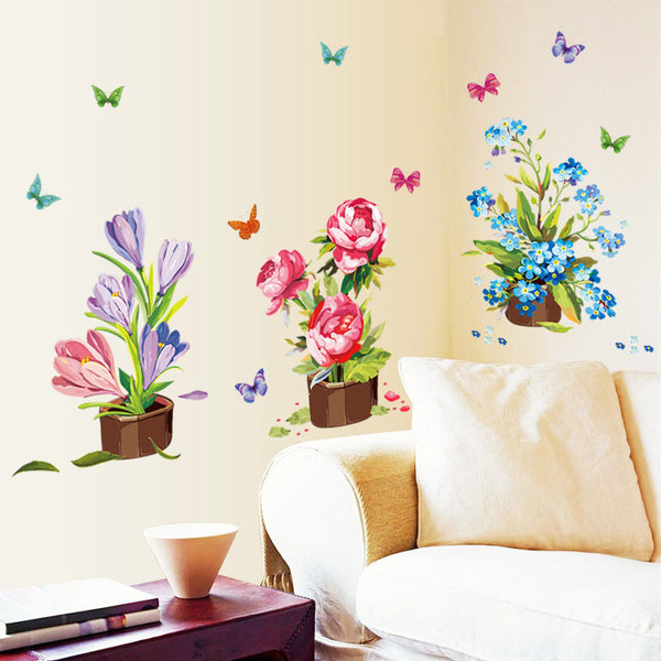[Fundecor Monopoly] Potted flowers plants home decoration wall stickers For Living Rooms Bedroom kitchen wall decor decals