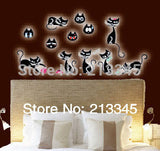 [Fundecor Monopoly] glow in the dark wall sticker cat black cartoon DIY children's room decoration home decals luminous 0030