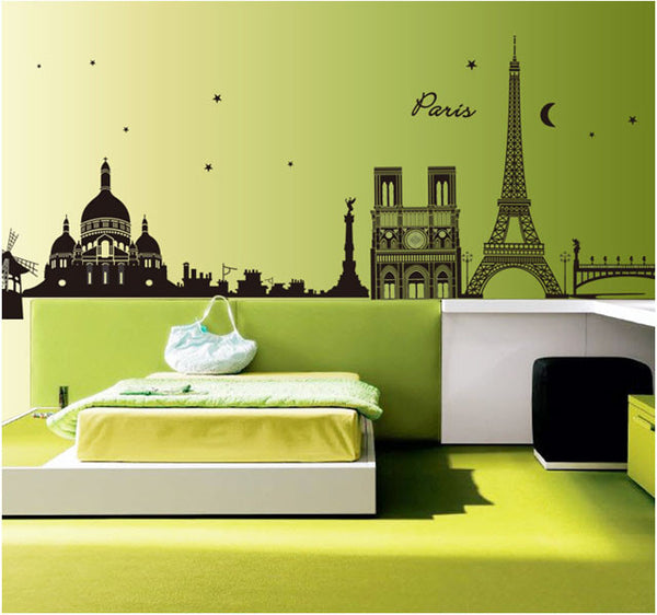 [Fundecor] Paris Night Fashion Removable Home Decor Wall Stickers For Living Room Decoracion Pared Pegatinas 9059