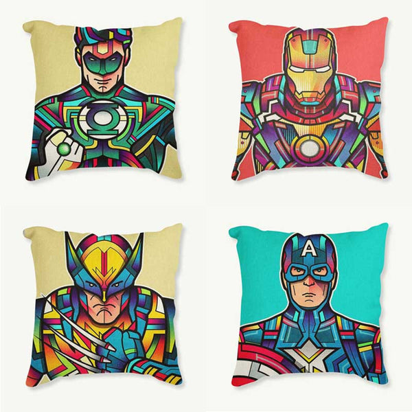 Superman Printed Cushion Cover Colorful Cartoon Decorative Sofa