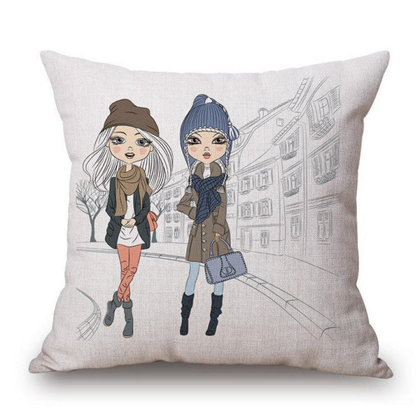 Nordic Style Home Decor Cushion Pillow Seat Sassy Girl Paris