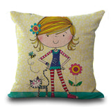 Cartoon Lovely Girl Hand Cotton Embrace Pillow Case Lumbar Pad Set Come Picture 45
