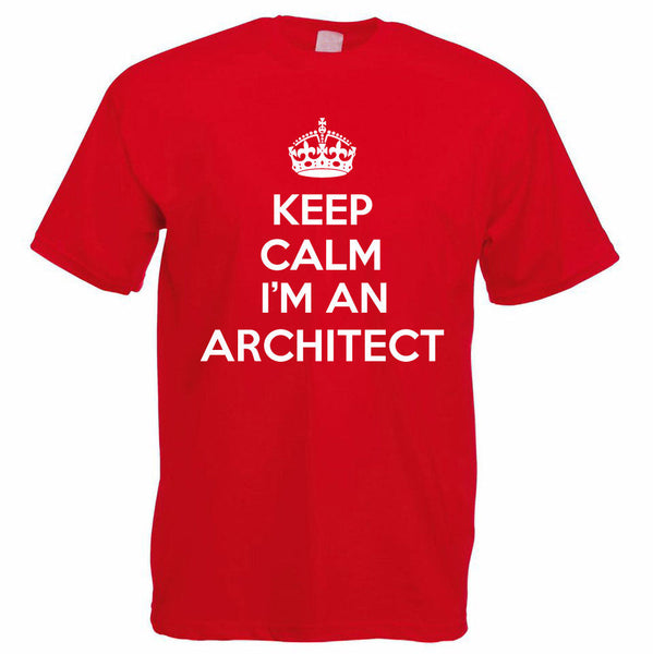 Company T Shirt Design Keep Calm I'M An Architect Engineering Buildings Funny Men'S Comfort Soft O-Neck Short-Sleeve Shirt