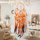 Five-rings Orange Dream Catcher Handmade Dreamcatcher with Feather Wall Hanging Home Car Decor Mascot Gifts