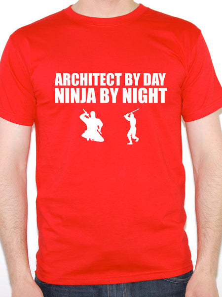 Cool Funny T Shirts Short Architect By Day Ninja By Night Buildings Novelty Themed Men Top O-Neck T Shirt