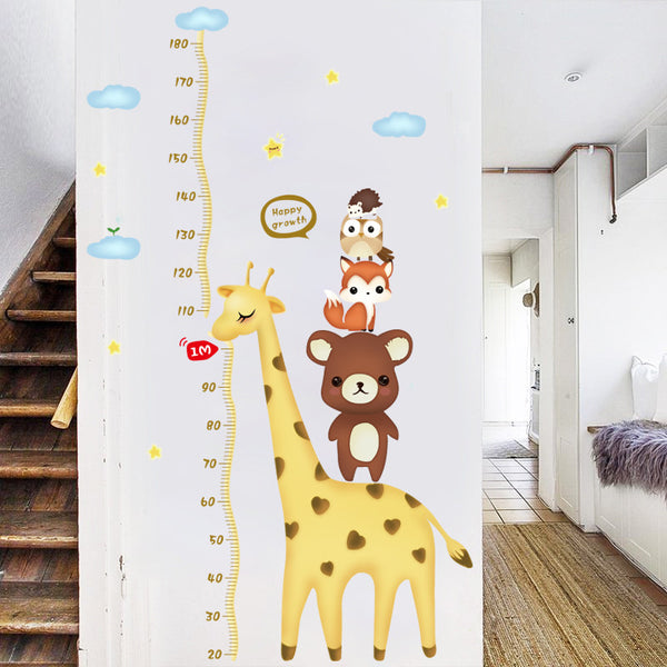 [Fundecor]  Cartoon Animals stacked Lohan children height measurement wall stickers for kids rooms nursery home decoration decal
