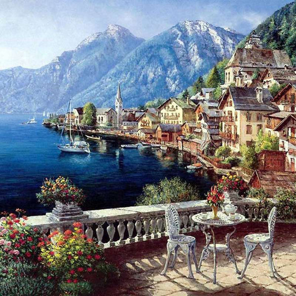 Decoration DIY Oil Painting Housing And Architectural Landscapes By Numbers On Canvas