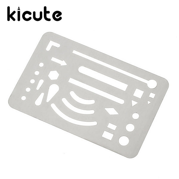 Kicute Silver Tone Multi Shape Drawing Template Tool Stainless Stell French Curve Ruler Architectural Drawing School Stationery