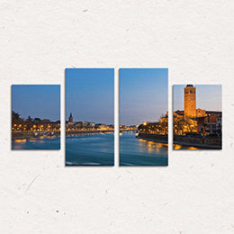 Funlife 4 Panel Wall Art Canvas Manhattan City New York Decor Wall Pictures Urban Architecture Artwork  (No Frames) CP228