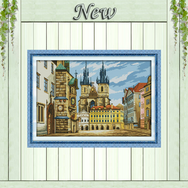 Russian architecture,Counted Printed on canvas DMC 11CT 14CT Cross Stitch kit,needlework Set embroidery,Europe building Scenery