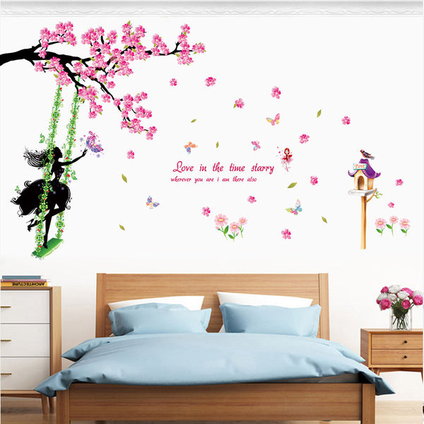 [Fundecor] Swing girl wall stickers for kids rooms nursery girls bedroom home decoration children art decals flowers diy murals