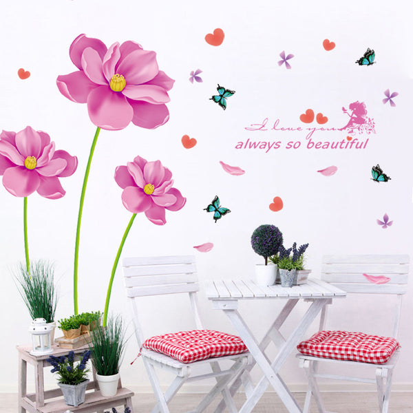 [Fundecor] modern style pink pruple flowers wall stickers home decoration living room tv wall background decals murals