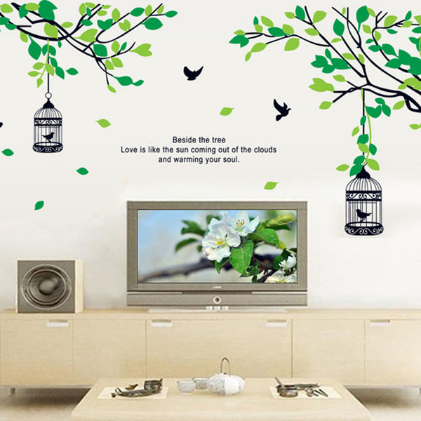 [Fundecor] a birdcage hanging from a tree Wall Stickers diy green plant decals bird cage murals wall home decoration