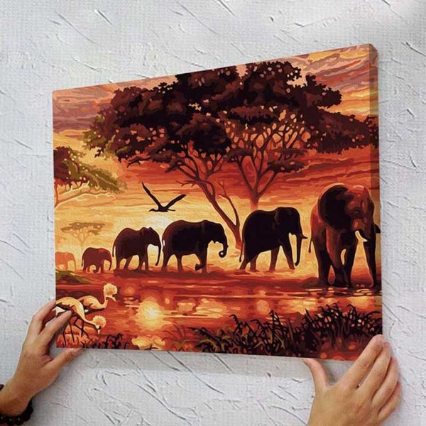 "DIY Paint By Number 16""*20"" Kit Oil Painting On Canvas Animals Elephant Frameles birthday gift"