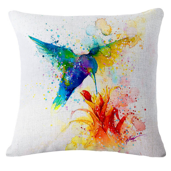 "Fashion cartoon, ""oil painting bird"" pattern creative pillow, bed pillow, multifunctional office cushion pillow"