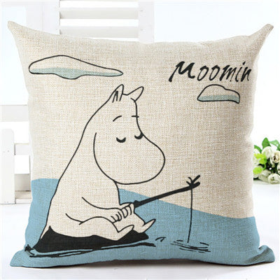 Square Printed Linen Cushion Cover Colorful Cartoon Animal