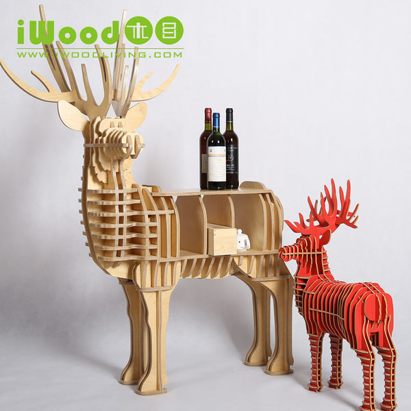 Nordic Elk wood shelving creative home decor European ornaments Home Decoration deer simulation wooden crafts free shipping