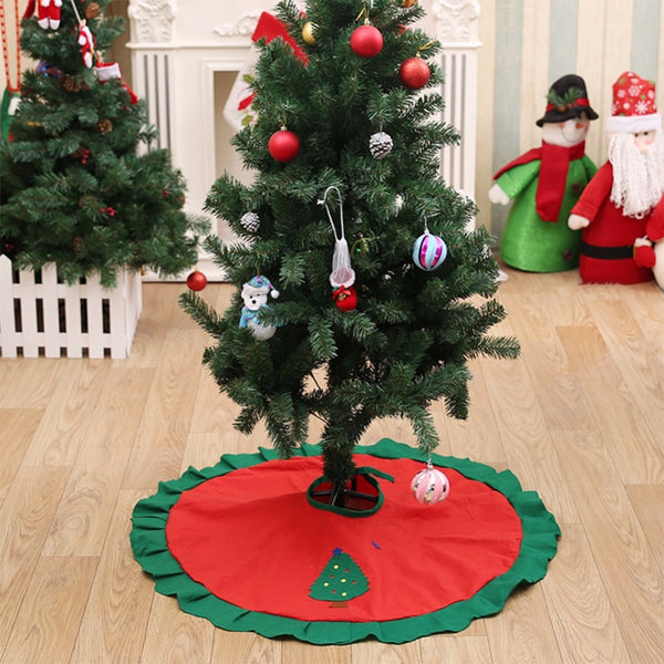 90cm Christmas Tree Skirt Apron Santa Claus Elk XMAS Tree Cover Ornament Decorations for Home Party New Year Supplies