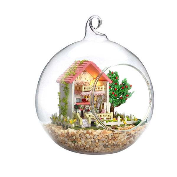 Dollhouse Miniature DIY House Kit Handmade Assembly Model Glassball Room With Furnitures