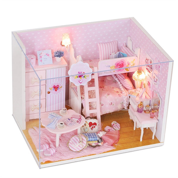 3D Wooden Miniature Dollhouse Furniture Kit Kids DIY Mini Doll House Model Princess Room Kids Toy Birthday Christmas New Year Kids Girls Gift (Pink)