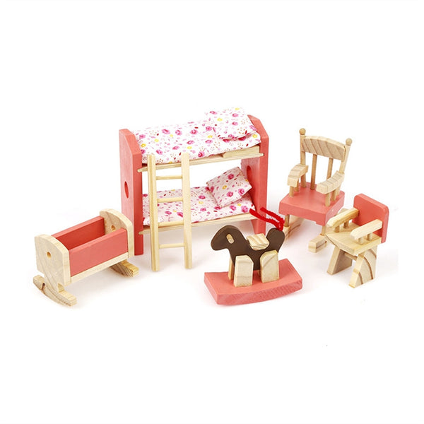 Wooden Doll House Furniture Miniature Kids Room Bedroom Set Kids Play House Toy
