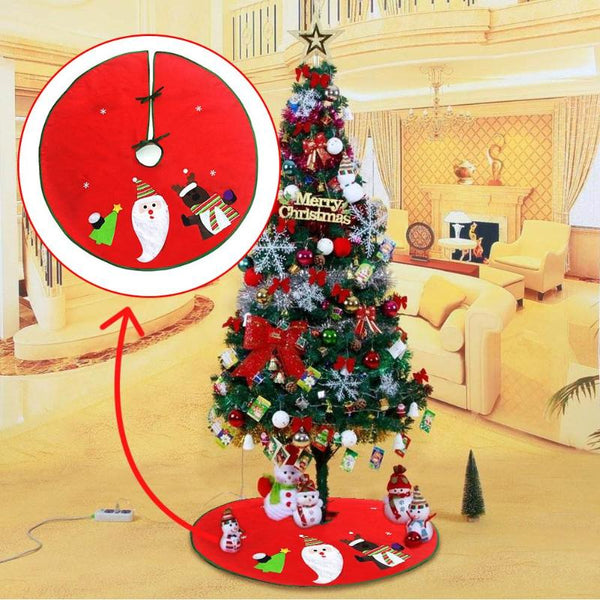 90cm Christmas Tree Skirt Santa Claus Elk Tree Apron XMAS Tree Decoration for Home Ornament Christmas Party Supplies