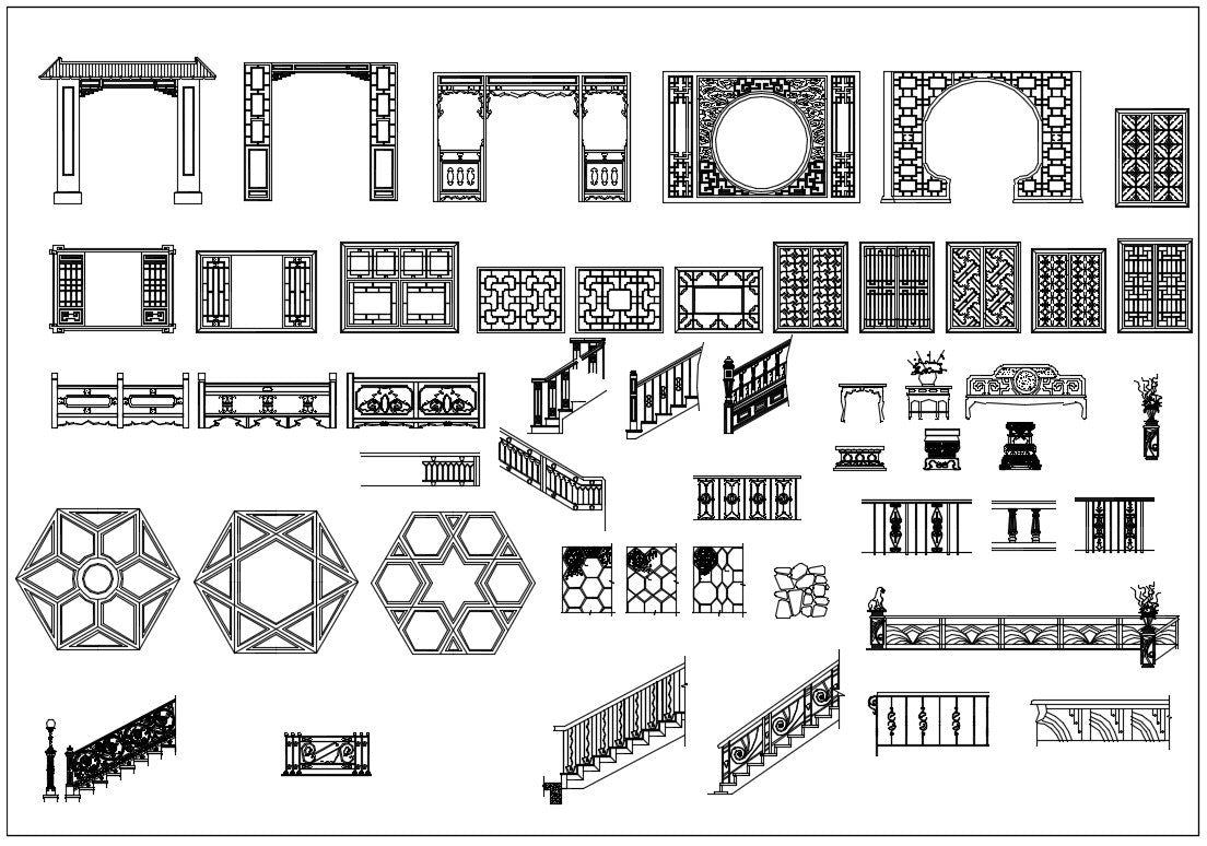 All Chinese Decoration Elements CAD blocks