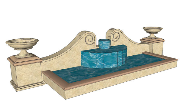 European Fountain & Waterfall Landscape-Sketchup 3D Models(Best  Recommanded!!)