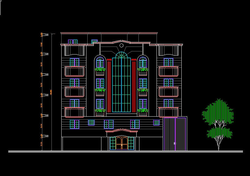 Building elevation 2 cad design free cad blocks for House cad drawings