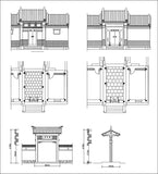 Chinese Architecture CAD Drawing-Chinese Gate Design