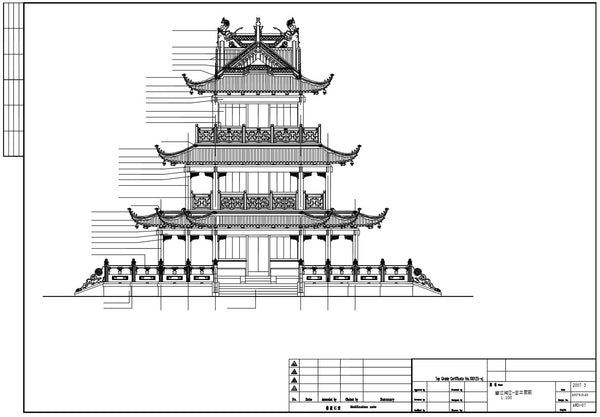Chinese Architecture Cad Drawings Plan Elevation Details