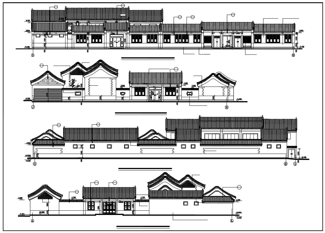 Chinese Architecture CAD Drawings-Architecture Elevation Design