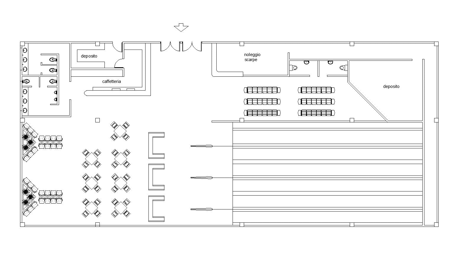 Free bowling plan cad design free cad blocks drawings for Bowling alley floor plans