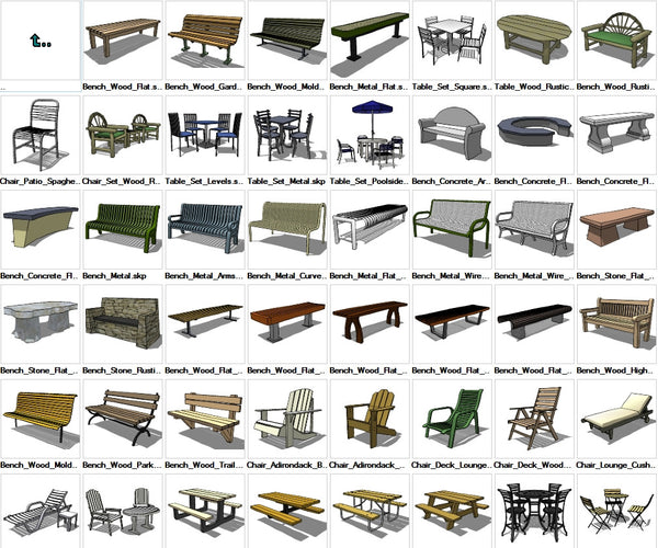 Sketchup Furniture Exterior 3D models download