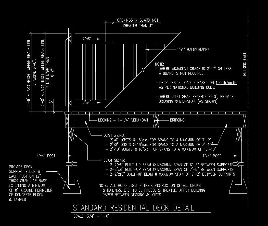Free cad details standard residential deck detail cad for Online cad drawing