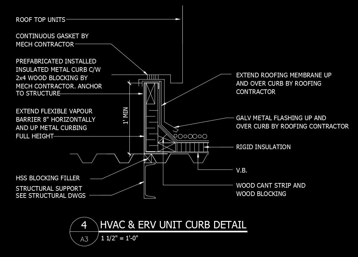 autocad hvac drawings pictures free cad details hvac   erv unit curb detail     cad design free  free cad details hvac   erv unit curb