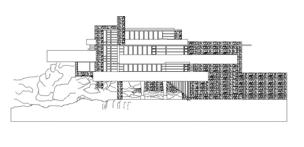 Hotel Front Elevation Cad Drawings : Falling water frank lloyd wright cad design free