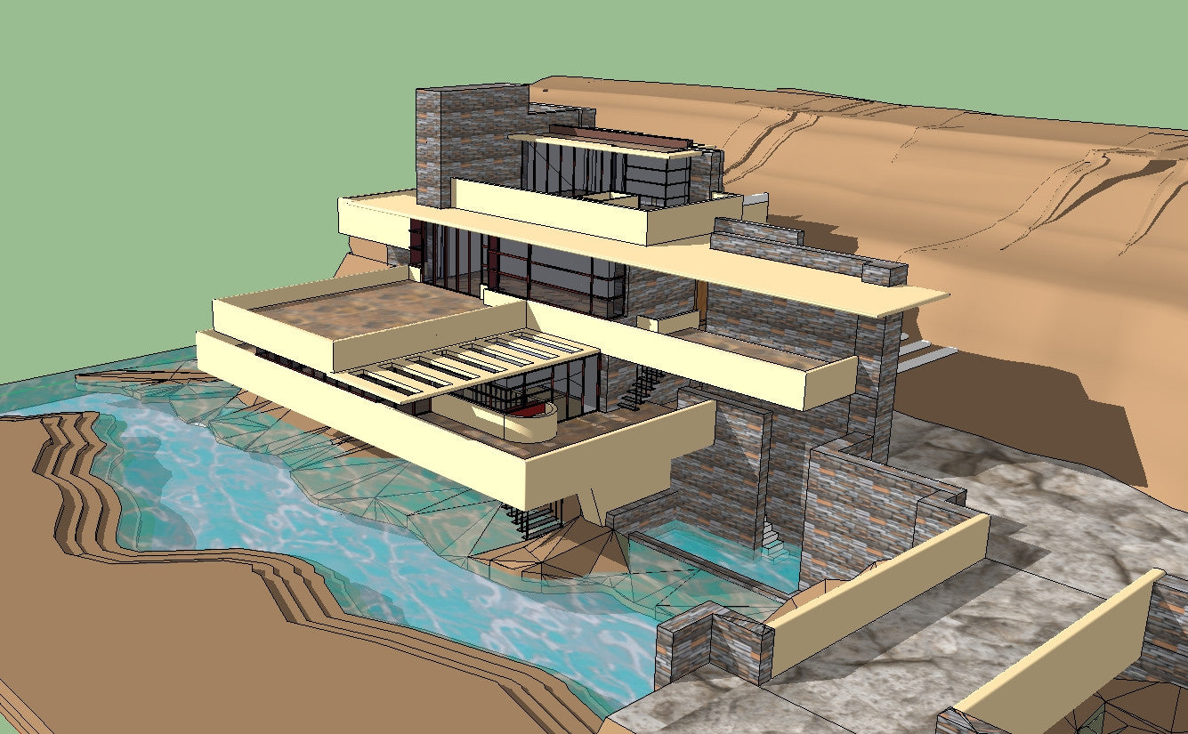 ★ Sketchup 3D Architecture models- Falling water-Frank Lloyd Wright