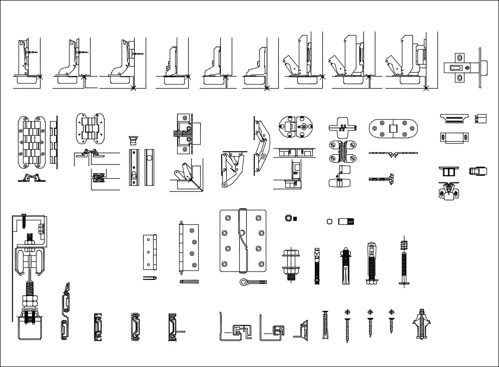 All Interior Design Hardware CAD blocks